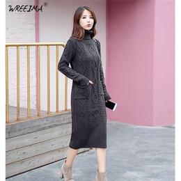 c3d1681a2d38 wreeima donne inverno maglia abiti 2018 grigio rosso moda manica lunga  dolcevita casuale sottile maglione caldo abito dress plus size xl