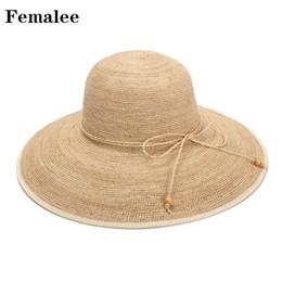 e3df27dc74d FEMALEE 2018 Fashion Summer Straw Raffia Hat Women s Sun Hats Lady Cap  Casual Straw Foldable Big Brim Shade Sunscreen Girl Cap