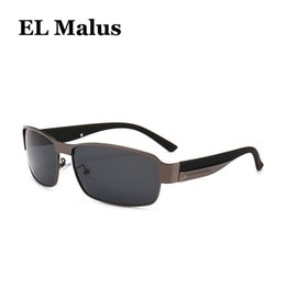 Discount sun tan wholesalers - [EL Malus]Retro Polarized Square Sunglasses Mens Male Metal Frame Gray Tan Lens Black Silver Gold Shades Handsome Sun Gl