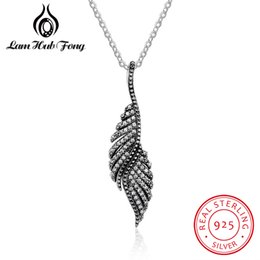 Discount sterling feather pendant - New Authentic 925 Sterling Silver Feather Wing Pendant Necklace High Quality Chain Necklace Fine Jewelry Accessories