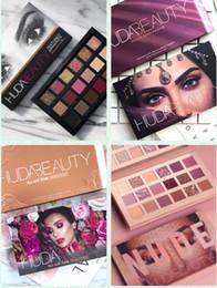 O mais novo huda beleza 18 Cores Paleta Da Sombra NUDE Rose Gold Texturizado Paleta de Maquiagem Sombra de Olho Beleza Paleta Fosco Shimmer