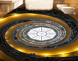 golden living room decor Canada - wall papers home decor living room European-style golden spiral staircase 3D floor tiles to draw wallpaper for bathrooms