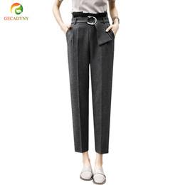 f6967a43835 Discount women casual work trousers - Women High Waist OL Harem Pants Women  Belt Summer Style