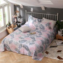 nurse bedding sets 2018 - Modern Style Pink Grey Leaves Pattern Bed Sheet 3 Piece Flat Sheet Cotton Bedding Pillowcase Bedspreads 230x250cm Set 3