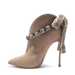 sexy ankle chains NZ - Metal Chain Shoes Butterfly-knot Thin Spike High Heels Suede Leather Women Slip-on Ankle Boots Sexy Pointed Toe 2018 Autumn Shoes