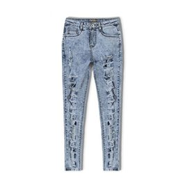 Torn Trousers Canada - Snow Wash Casual Hole Jeans Women Skinny Pencil Pants Plus Size Torn Slim High Waist Denim Jeans Trousers