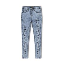 $enCountryForm.capitalKeyWord Canada - Snow Wash Casual Hole Jeans Women Skinny Pencil Pants Plus Size Torn Slim High Waist Denim Jeans Trousers