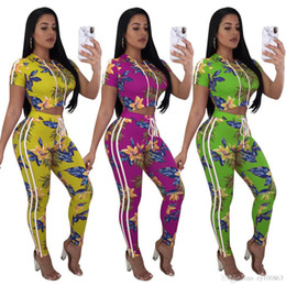 b2716b7bcda Tracksuit Women Summer Two Piece Sets Short Sleeve Floral Print Crop Top  and Pants Ladies Streetwear Fashion Leisure Jogger Suit