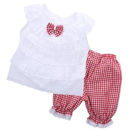 $enCountryForm.capitalKeyWord UK - Casual Kids Baby Girls Bowknot Cotton Clothes 2017 Fashion Summer White T-shirt Tops+Plaid Bloomers Pants 2Pcs Clothing Set