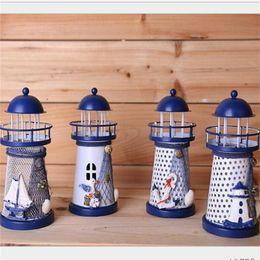 EastEr mEtal dEcor online shopping - Romantic Iron Skin Art Candlestick Lighthouse Shape Trumpet Candlesticks Wind Proof Mediterranean Style Candle Holder Wedding Decor yg jj