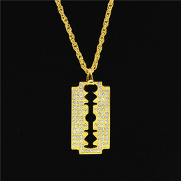 $enCountryForm.capitalKeyWord Australia - 5PCS Hip Hop Style Razor Blade Pendant Necklace Alloy Gold Color Iced Out Rhinestones With 70cm Chain Necklace For Men Christmas Gift