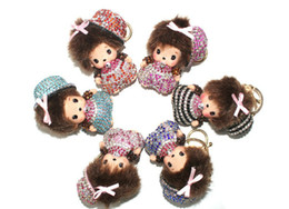 $enCountryForm.capitalKeyWord Australia - Bulk 12Pcs Rhinestones Monchichi Charms Keychain Cute Doll Pendants Decoration Accessories Handbag Key Ring Pendant Fashion Gifts