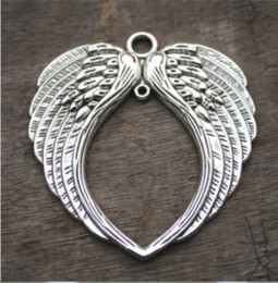 TibeTan silver angel wing charms online shopping - 2pcs Huge Angel Wings Charms Antique Tibetan silver Large Angels Fairy Wings Feathers Charms Pendants necklace charms x73mm