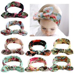 Print Ribbons Canada - Trendy Colorful Baby Rabbit Ears Headbands Bow Knot Print Flowers Ribbon Girls Hair Ornaments Cotton Headwear Kids Hair Accessories