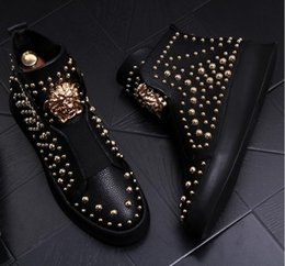 Punk rivet style shoes online shopping - 2018 NEW style luxury Man Casual Leather Shoes High Top Gold Punk Rock Metal Rivets Designer Man Flats Shoes Street Dance Boots S242