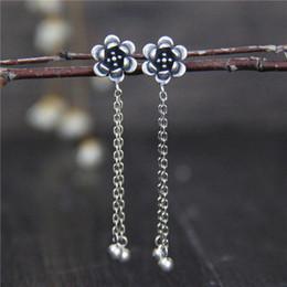 $enCountryForm.capitalKeyWord Australia - S925 sterling silver, lotus flower, long tassel, ladies' earrings.