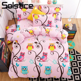pink purple girls bedding 2019 - Solstice Home Textile Owl Forest Magic Kid Bedding Sets Girl Child Teen Bedlinen Twin King Size Bed Sheet Pillowcase Duv