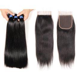 Top closure hair weaves online shopping - Top Lace Closure With Bundles Brazilian Human Hair Weaves Indian Straight Virgin Hair Grade A Brazillian Virgin Hair with Closures