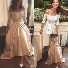 Wholesale boho off shoulder top online – 2018 New High Low Beach Wedding Dresses Off Shoulder Long Sleeve Lace Top Tea Length Country Boho Bridal Gowns Cheap Customized