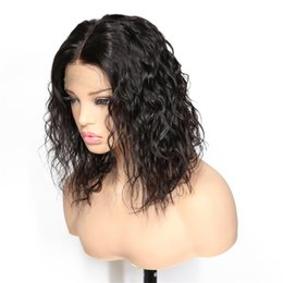 Remy bob wigs online shopping - Glueless Full Lace Human Hair Wigs For Black Women Unprocessed Brazilian Virgin Hair Water Wave Lace Front Bob Wigs With Baby Hair