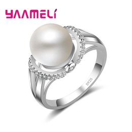 China YAAMELI Fashion Elegant Pearl Rings For Women Simple 925 Sterling Silver Ring Female Statement Party Charm Jewelry Gifts New supplier statement rings suppliers