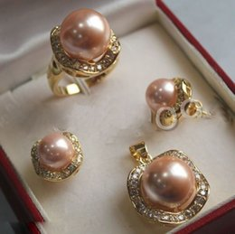 $enCountryForm.capitalKeyWord Australia - Set 10mm &14mm red pink South sea Shell Pearl Earrings Necklace Ring 3 style choice