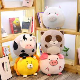 $enCountryForm.capitalKeyWord Canada - Cute Round Animal Plush Pillow Stuffed Lion Hippo Raccoon Pig Cow Toy Cartoon Toy Soft Plush Sofa Cushion Kid Girl Birthday Gift