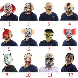 Discount scary adult clown costumes - Halloween Mask Scary Clown Latex Full Face Mask Big Mouth Red Hair Nose Cosplay Horror masquerade mask Ghost Party Costu