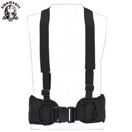 Discount army combat vest - SINAIRSOFT Tactical Molle Waist Padded Belt Vest Army Convenient Combat Girdle EAS H-shaped Adjustable Suspender Soft Pa