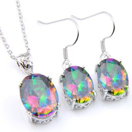 mystic fire topaz pendant UK - Luckyshine Holiday Gift Ellipse Fire Colored Mystic Topaz Gems 925 Sterling Silver Necklaces Crystal Zircon Pendants Drop Earrings Jewelr