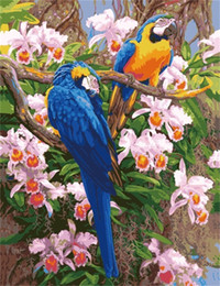 Diy Oil Paint Number Kits NZ - 16x20 inches DIY Vintage Spring Season Parrots in Flowers Scenery Paint by numbers Kit Art Paintings Acrylic Oil painting on Canvas
