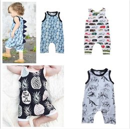 cute summer rompers Australia - 100pcs Baby Print Rompers Boy Girls car dinosaur Newborn Infant Baby Girls Boys Summer Clothes Jumpsuit Playsuits Y257
