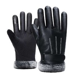 $enCountryForm.capitalKeyWord Australia - Man Outdoor Car Driving Mittens 2018 Winter Men PU Leather Short Thicked Black Touch Screen Gloves Men Waterproof Gloves For Ski
