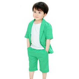 kids blazers UK - 2018 New Fashion Boys Formal Suits Summer 2pcs Short Sleeve Blazer+Shorts Children Kids Wedding Birthday Dress Clothing Sets N28