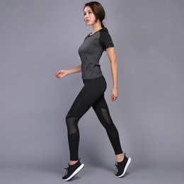 Yoga Pants Shirt Canada - Sexy Yoga Set Women Fitness Running Shirt+Pants Breathable Gym Workout Clothes Compressed Yoga Leggings Sport Suit