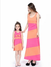 mother daughter match clothing UK - High Quality Mother Daughter Dresses Sleeveless Striped Family Matching Outfits Mom Daughter Dress Family Clothes
