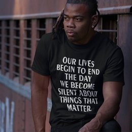 $enCountryForm.capitalKeyWord NZ - Wholesale Discount Tshirt Men T Shirt Martin Luther King Positive Saying Our Lives Begin To End The Day We Become Silent Fashion Tee