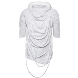 74421cc18b T-shirt dos homens europeus e americanos de moda tendência de manga curta  com capuz empilhado para cima gola hip-hop street dance transfronteiriça  roupas ...