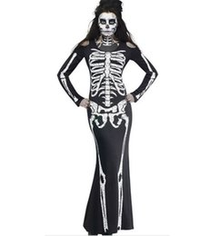 women s skeleton costumes UK - Halloween Costumes Women Clothes Skeleton Framework Print Long Sleeve Long Dresses Women Ghost Dresses Party Cosplay