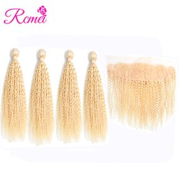 $enCountryForm.capitalKeyWord NZ - Rcmei 613 Blonde Kinky Cruly Lace Frontal With Bundles Brazilian Remy Hair Human Hair 4 Bundles With 13x4 Frontal Pre-Plucked Free Shipping