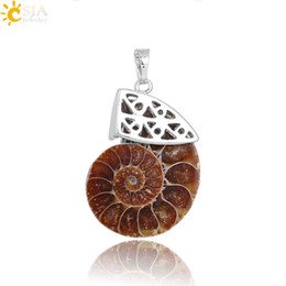 $enCountryForm.capitalKeyWord UK - CSJA Worldwide Sale Trendy Men Women Hollow Top Natural Ammonite Fossils Conch Stone Necklace Cluster Pendant Charms Jewelry DIY Making E250