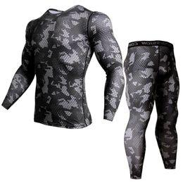 t shirts for men winter 2019 - Winter suit for men For Men Thermal Underwear Camouflage Tracksuit MMA Suits Rashguard Set Bodybuilding T-shirt S-XXXL c