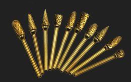 $enCountryForm.capitalKeyWord NZ - 10pc Titanium coating Shank Tungsten Carbide Milling Cutter Set Rotary Tool Burr Double Diamond Cut Dremel Tools Electric Grinding Engrave
