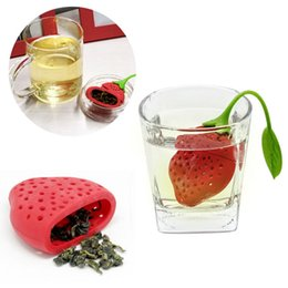 TeapoT shapes online shopping - Lovely Fruit Strawberry Shape Silicone Tea Strainer Herbal Spices Leaf Tea Infuser For Loosing Leaf Tea In Teapot