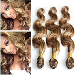 Piano Hair Weave NZ - Piano Color Virgin Indian Human Hair Weaves Body Wave 3Pcs #8 613 Brown Mixed Blonde Piano Color Human Hair Bundles Deals Double Wefted