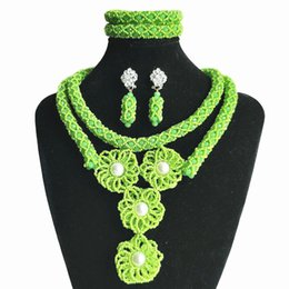 African Jewelry Sets China NZ - Light Green Nigerian Wedding Beads Womens African Crystal Beaded Jewelry Handmade Necklace Wedding African Beads Bridal Jewelry Set