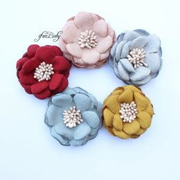 Girl's Accessories 2017 Hair Flowers Girls Kids Women Hair Accessories Burned Singed Hair Flower Satin Fabric Flowers 30pcs