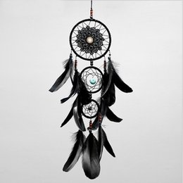 Wholesale Dreamcatcher Handmade Dream Catcher Net With Feathers Black Wind Chimes Wall Hanging Car Pendant Ornament Party Gift Home Decoration