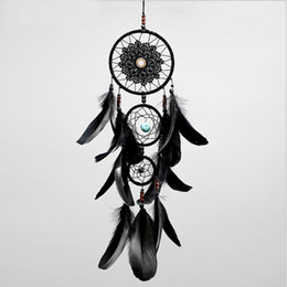 $enCountryForm.capitalKeyWord Australia - Dreamcatcher Handmade Dream Catcher Net With Feathers Black Wind Chimes Wall Hanging Car Pendant Ornament Party Gift Home Decoration