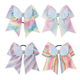 Hair Glitter Elastic Australia - 7'' Rainbow Glitter Mermaid Cheer Bows Wings Rhinestone Knot Hair Bows With Elastic Hair Tie For Girls Party Hair Accessories